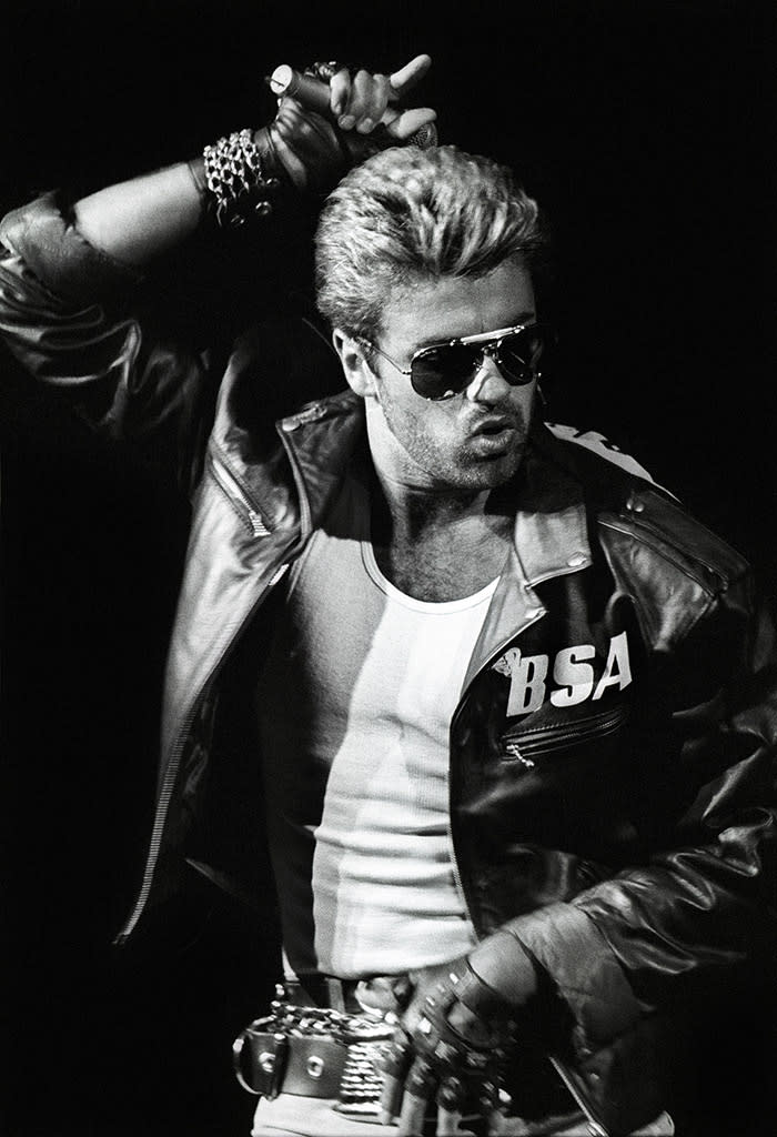 """<p>George Michael performs onstage on the """"Faith World Tour"""" at Ahoy in Rotterdam, Netherlands, April 12,1988. (Photo: Rob Verhorst/Redferns) </p>"""