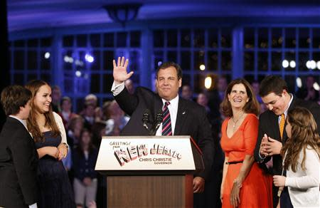 Republican New Jersey Governor Chris Christie addresses supporters at his election night party in Asbury Park, New Jersey