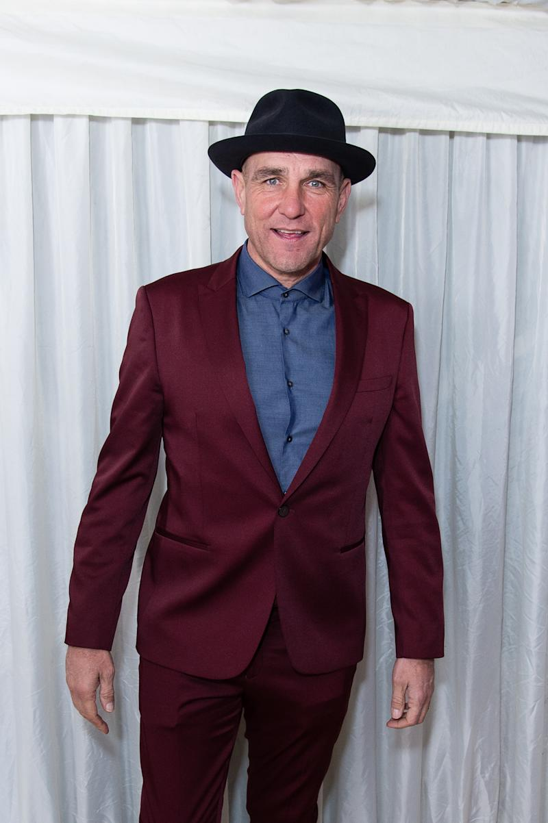 "LONDON, ENGLAND - NOVEMBER 30: Vinnie Jones backstage at the ""X Factor Celebrity "" Final at LH2 Studios on November 30, 2019 in London, England. (Photo by Jeff Spicer/Getty Images)"