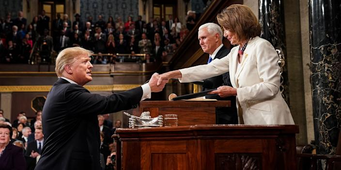 President Donald Trump with House Speaker Nancy Pelosi and Vice President Mike Pence before delivering the State of the Union address on February 5, 2019.