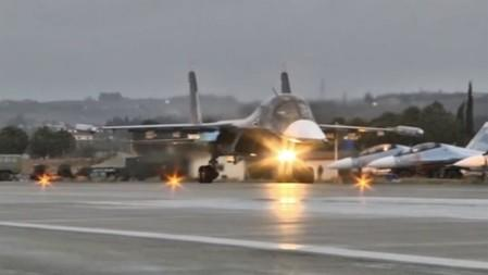 A Russian military jet takes off from the country's air base in Hmeymin, Syria to head back to Russia, part of a partial withdrawal ordered by President Vladimir Putin, in this still image taken from video March 15, 2016.  REUTERS/Russian Ministry of Defence via REUTERS TV