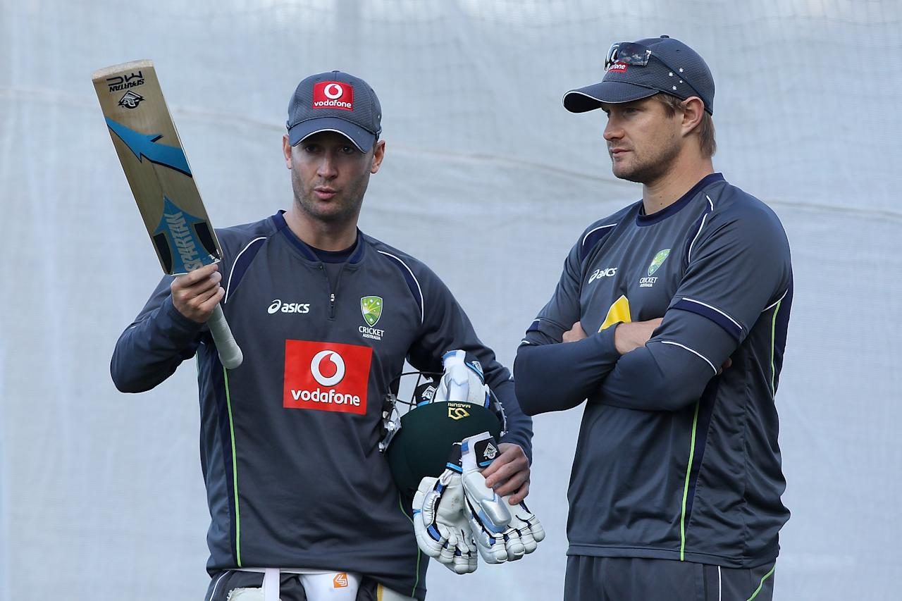 ADELAIDE, AUSTRALIA - NOVEMBER 21: Michael Clarke talks to Shane Watson during an Australian training session at Adelaide Oval on November 21, 2012 in Adelaide, Australia.  (Photo by Morne de Klerk/Getty Images)