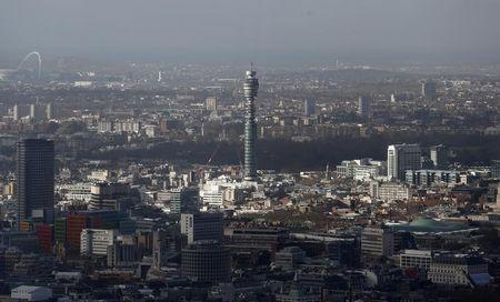 The BT communication tower is seen from The View gallery at the Shard, western Europe's tallest building, in London January 28, 2014. REUTERS/Suzanne Plunkett