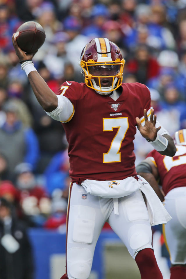 Washington Redskins quarterback Dwayne Haskins (7) throws during the first half of an NFL football game against the Buffalo Bills, Sunday, Nov. 3, 2019, in Orchard Park, N.Y. (AP Photo/John Munson)