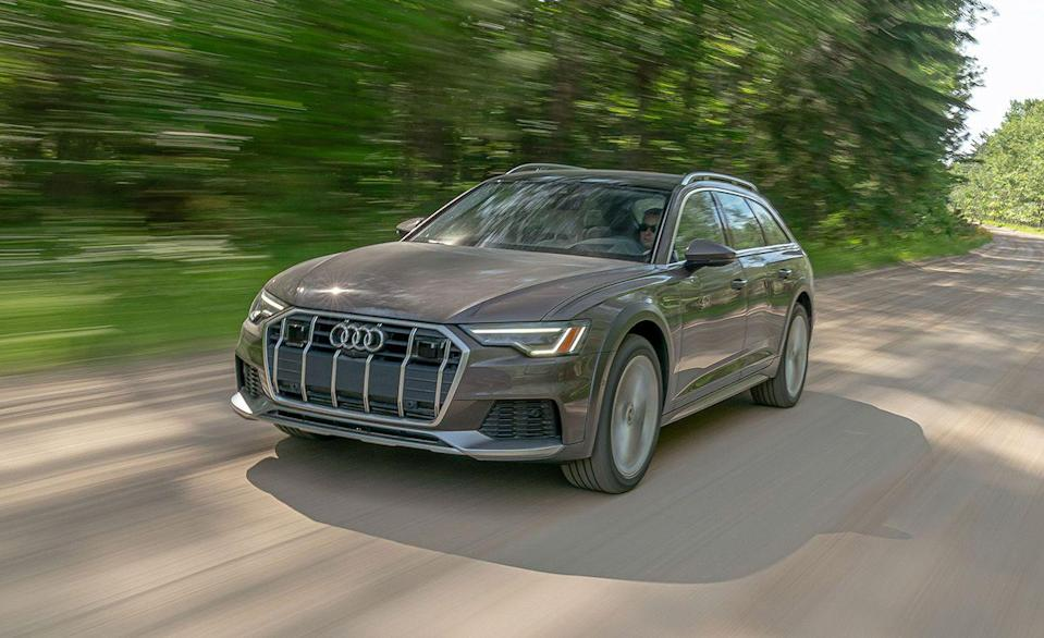 """<p>The comfortable riding, <a href=""""https://www.caranddriver.com/audi/a6"""" rel=""""nofollow noopener"""" target=""""_blank"""" data-ylk=""""slk:Audi A6"""" class=""""link rapid-noclick-resp"""">Audi A6</a> and its <a href=""""https://www.caranddriver.com/audi/a6-allroad"""" rel=""""nofollow noopener"""" target=""""_blank"""" data-ylk=""""slk:Allroad"""" class=""""link rapid-noclick-resp"""">Allroad</a> wagon counterpart earned a spot on our <a href=""""https://www.caranddriver.com/shopping-advice/a35536605/2021-editors-choice/"""" rel=""""nofollow noopener"""" target=""""_blank"""" data-ylk=""""slk:2021 Editor's Choice list"""" class=""""link rapid-noclick-resp"""">2021 Editor's Choice list</a> this year because of their smooth powertrain and high-tech cabin. Turns out, they're pretty darn safe too. The <a href=""""https://www.iihs.org/ratings/vehicle/audi/a6-allroad-4-door-wagon/2021"""" rel=""""nofollow noopener"""" target=""""_blank"""" data-ylk=""""slk:A6 Allroad scored"""" class=""""link rapid-noclick-resp"""">A6 Allroad scored</a> slightly higher than the regular <a href=""""https://www.iihs.org/ratings/vehicle/audi/a6-4-door-sedan/2021"""" rel=""""nofollow noopener"""" target=""""_blank"""" data-ylk=""""slk:A6 sedan"""" class=""""link rapid-noclick-resp"""">A6 sedan</a> in headlight testing, but the rest of the results were nearly identical. The A6 Premium received an acceptable rating because its LED headlights weren't as powerful. During roof strength testing, the IIHS applied 22,702 pounds to the roof of the A6 to get it to crush the standard five inches. This is exceptional, and means the A6 and A6 Allroad have a strength-to-weight ratio of 5.39 for its roof. Standard driver-assistant features include automated emergency braking, lane departure warning, with available adaptive cruise control and a system that watches for traffic when you exit the vehicle. </p><p><a class=""""link rapid-noclick-resp"""" href=""""https://www.caranddriver.com/reviews/a33434398/2020-audi-a6-allroad-by-the-numbers/"""" rel=""""nofollow noopener"""" target=""""_blank"""" data-ylk=""""slk:A6 ALLROAD TESTED"""">A6 ALLROAD TESTED</a> 