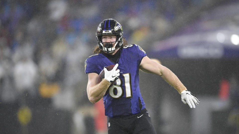 Baltimore Ravens tight end Hayden Hurst runs with the ball after making a catch against the Pittsburgh Steelers during the first half of an NFL football game, Sunday, Dec. 29, 2019, in Baltimore. (AP Photo/Nick Wass)