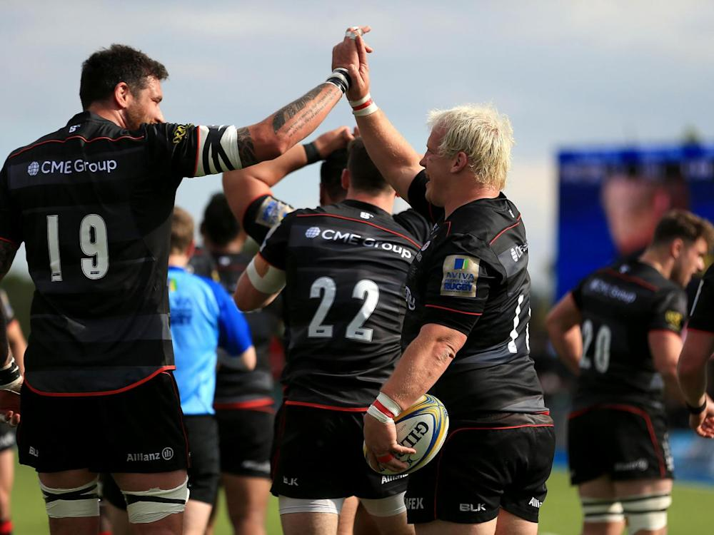 Petrus du Plessis celebrates his first try for Saracens (Getty)