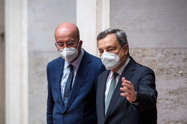ROME, ITALY - SEPTEMBER 09: Italian Prime Minister Mario Draghi meets the President of the European Council Charles Michel before their meeting at Palazzo Chigi, on September 9, 2021 in Rome, Italy. (Photo by Antonio Masiello/Getty Images) (Photo: Antonio Masiello via Getty Images)