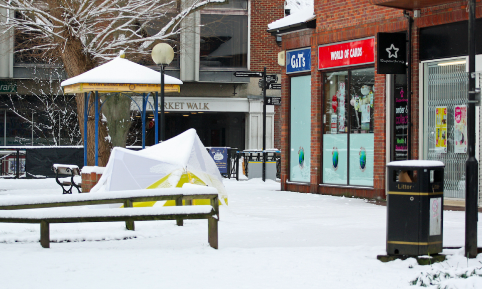 <em>A tent lies close to the bench in Salisbury where Mr Skripal and his daughter were found (PA)</em>
