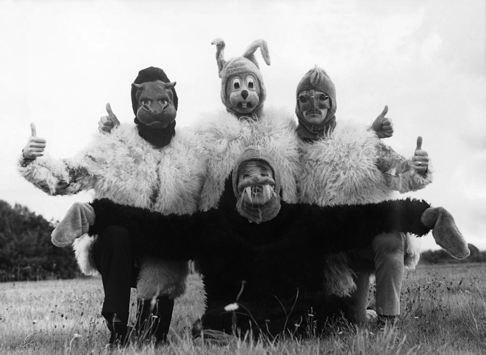 UNITED KINGDOM - JANUARY 01:  Paul MAC CARTNEY, George HARRISON, Ringo STARR and in front John LENNON interpreting the song I'M THE WALRUS disguised as animals, in a scene from the film MAGICAL MYSTERY TOUR.  (Photo by Keystone-France/Gamma-Keystone via Getty Images)