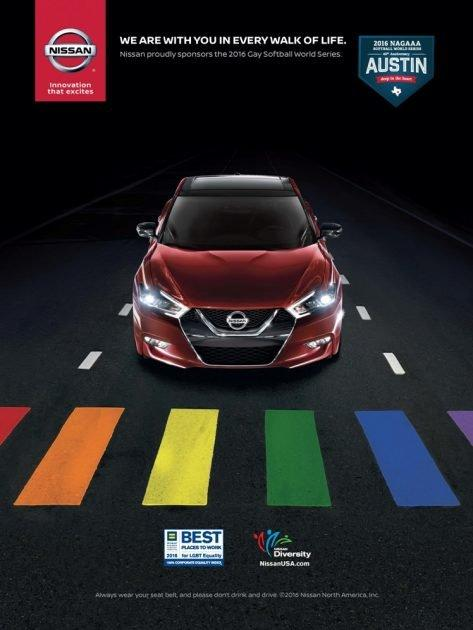 "Credit: <a href=""https://marketingtherainbow.info/contact/The%20rainbow%20ads.html"" rel=""nofollow noopener"" target=""_blank"" data-ylk=""slk:Nissan via Marketing the Rainbow"" class=""link rapid-noclick-resp"">Nissan via Marketing the Rainbow</a>"