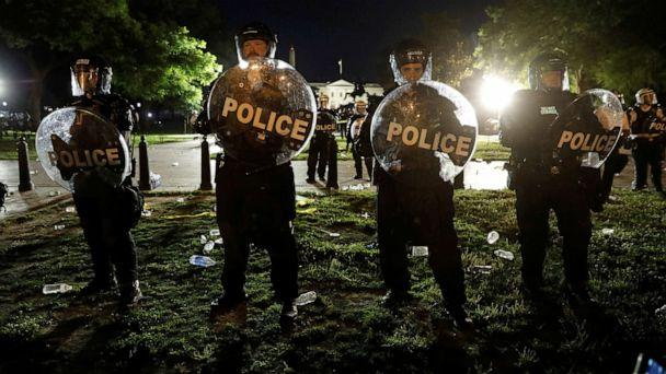PHOTO: Security forces hold a perimeter near the White House as protests against the death in Minneapolis police custody of George Floyd, take place in front of the White House, in Washington, D.C., May 30, 2020. (Yuri Gripas/Reuters)