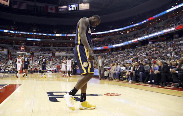 Indiana Pacers guard Lance Stephenson (1) walks to the bench in the second half of an NBA basketball game against the Washington Wizards, Friday, March 28, 2014, in Washington. The Wizards won 91-78. (AP Photo/Alex Brandon)