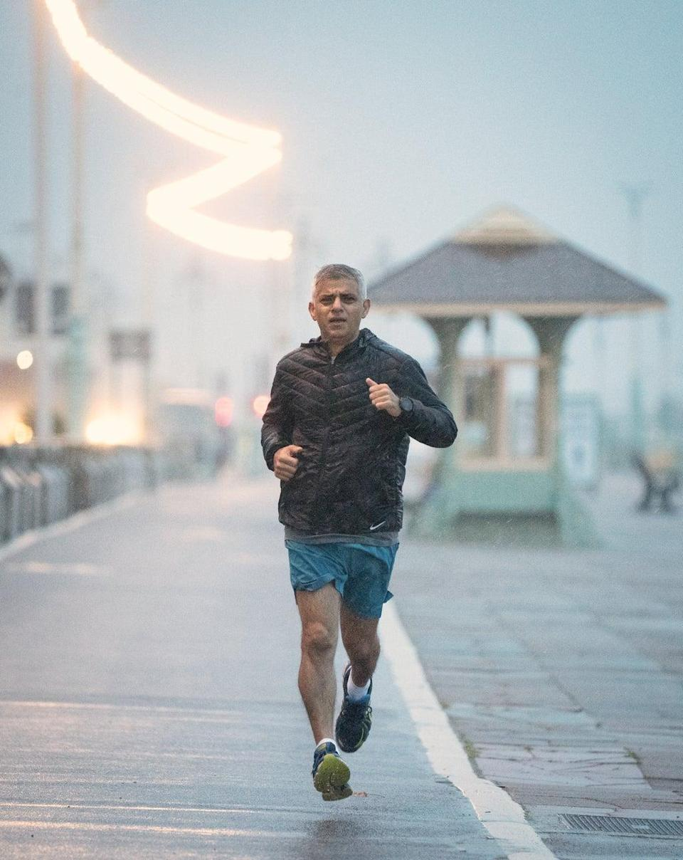 Mayor of London Sadiq Khan runs along the seafront in Brighton where the Labour Party is holding its conference (Stefan Rousseau/PA) (PA Wire)