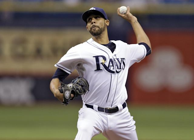 Tampa Bay Rays starting pitcher David Price delivers to the Seattle Mariners during the first inning of a baseball game Monday, June 9, 2014, in St. Petersburg, Fla. (AP Photo/Chris O'Meara)