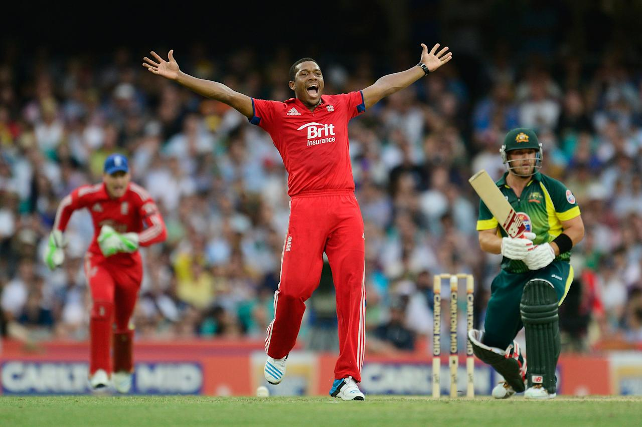 SYDNEY, AUSTRALIA - JANUARY 19:  Chris Jordan of England appeals for an LBW on Aaron Finch of Australia during game three of the One Day International Series between Australia and England at Sydney Cricket Ground on January 19, 2014 in Sydney, Australia.  (Photo by Brett Hemmings/Getty Images)