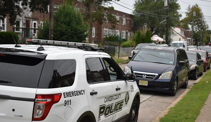 A CamdenCounty Police car is posted Thursday near the scene of a shooting on the 2900 block of Clinton Street.