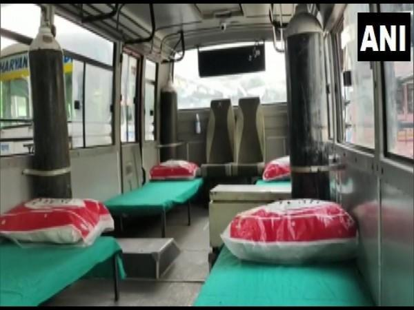 Visual of one of the converted mini bus into an ambulance in Karnal. (Photo/ANI)