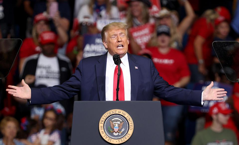 Then-US President Donald Trump arrives at  a campaign rally at the BOK Center, 20 June, 2020 in Tulsa, Oklahoma.  (Getty Images)