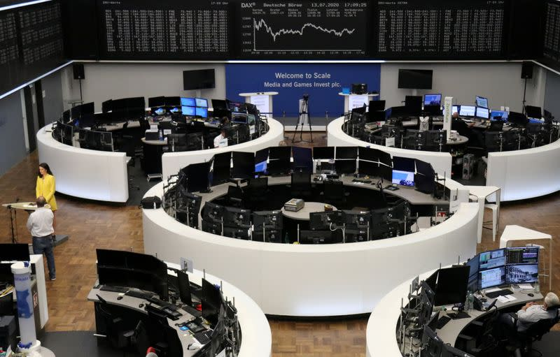Global stocks rebound on cyclical surge, gold edges higher