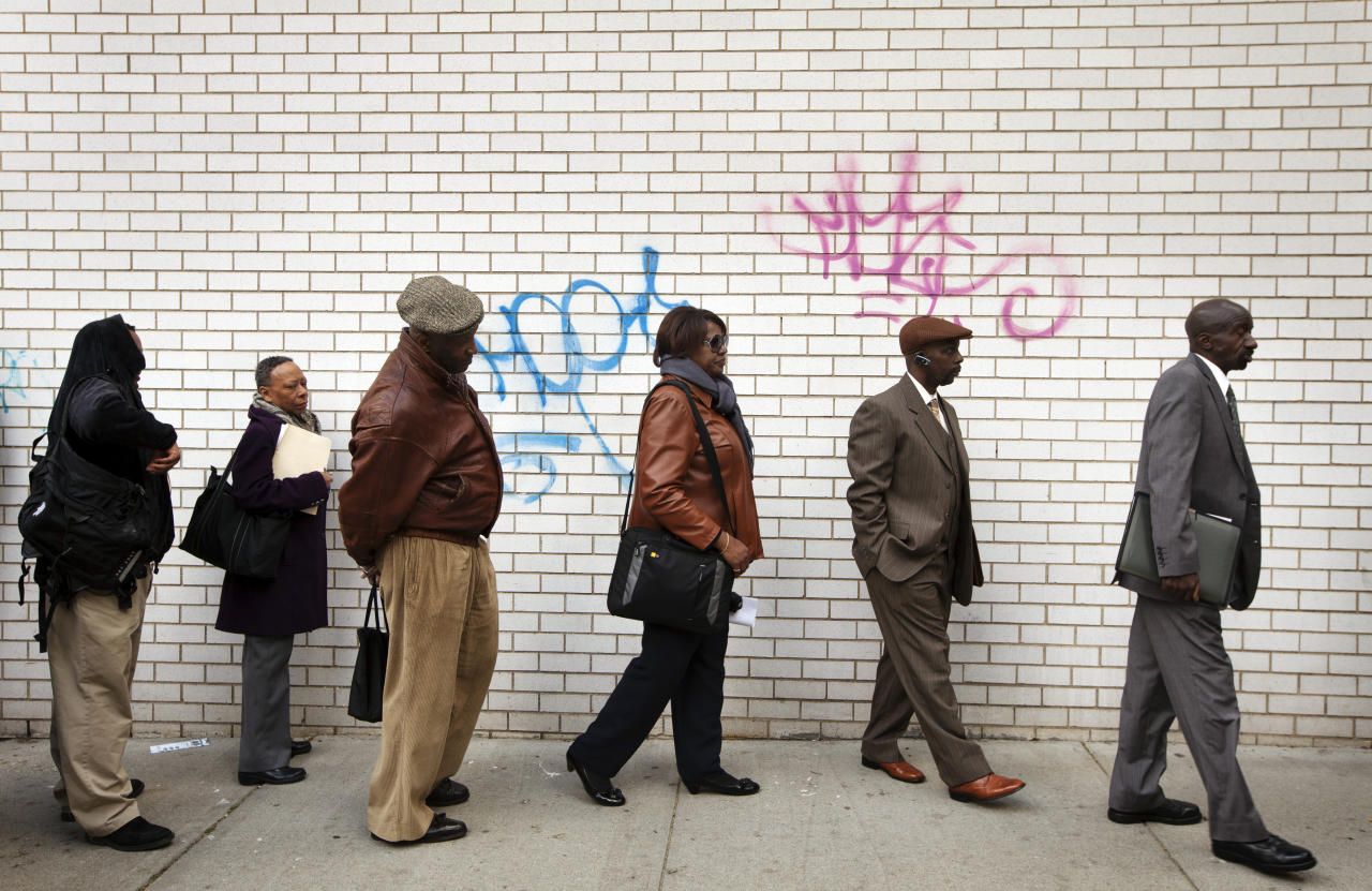 Jobseekers stand in line to attend the Dr. Martin Luther King Jr. career fair held by the New York State department of Labor in New York April 12, 2012. A report on Friday showed the economy created only 120,000 jobs last month, the fewest since October. The unemployment rate fell to a three-year low of 8.2 percent, but largely as people gave up the search for work.     REUTERS/Lucas Jackson (UNITED STATES - Tags: BUSINESS EMPLOYMENT)