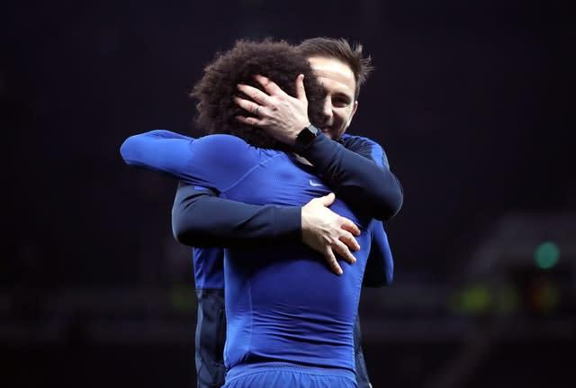 Frank Lampard celebrates the victory over Spurs with Willian (Nick Potts/PA)