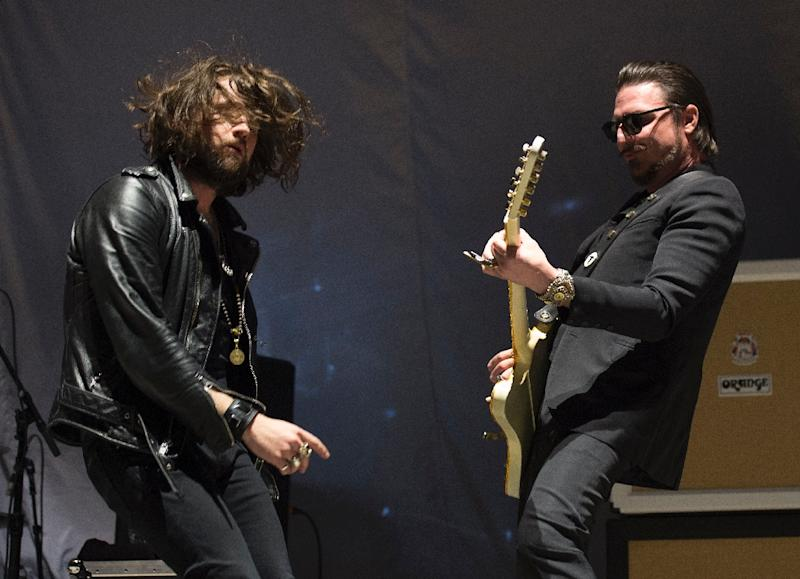 Jay Buchanan (L) and Scott Holiday, of Rival Sons, perform at Madison Square Garden on February 25, 2016 in New York, Holiday said it was difficult to categorize the sound and preferred simply to call it rock and roll (AFP Photo/Don Emmert                 )