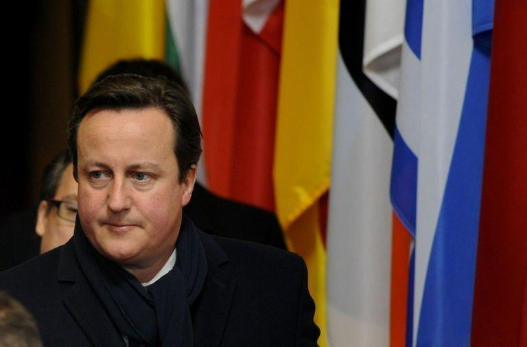 British Prime Minister David Cameron at EU headquarters in Brussels, on February 8, 2013. The British leader's stance had put him on a collision course with countries such as France and Italy, which wanted increased EU investment to boost growth and curb record unemployment