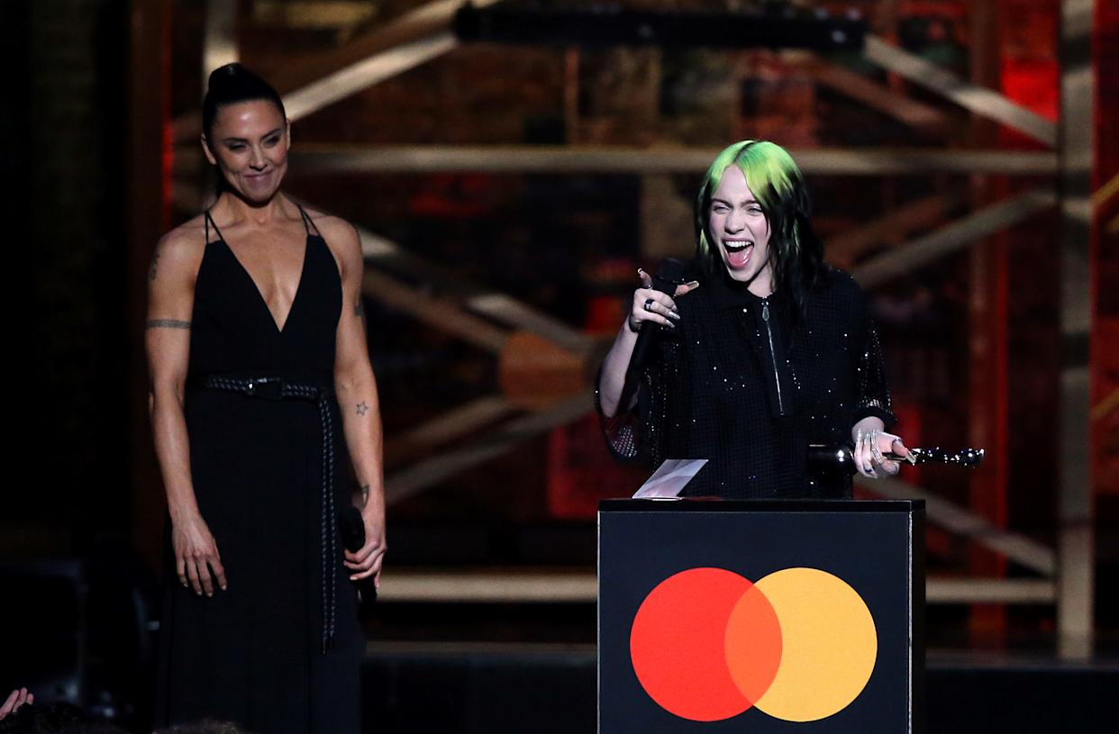 Billie Eilish with her international female solo artist award on stage at the Brit Awards 2020 at the O2 Arena, London