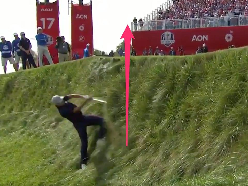 Jordan Spieth launches a massive chip shot at the Ryder Cup.