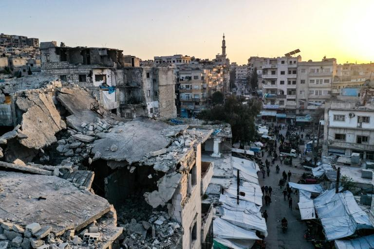 A market on the second day of the Islamic holy month of Ramadan in the war-ravaged city of Ariha in the southern countryside of the Idlib province on April 15