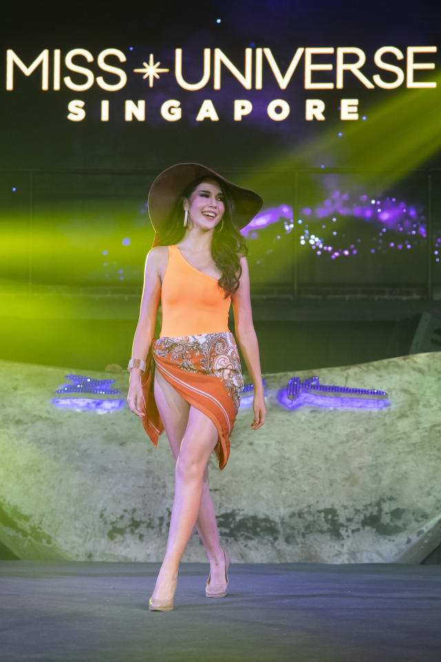 Annika Xue Sager competing in the swimwear segment during the 2019 Miss Universe Singapore at Zouk.