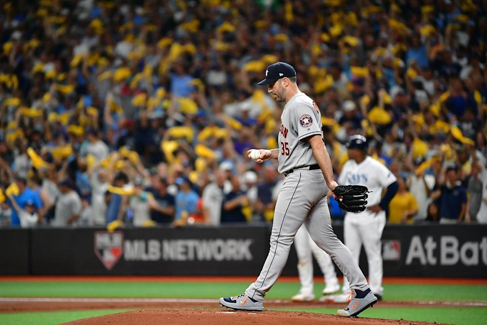 ST PETERSBURG, FLORIDA - OCTOBER 08:  Justin Verlander #35 of the Houston Astros reacts after allowing a two-run double to Joey Wendle (not pictured) of the Tampa Bay Rays during the first inning in game four of the American League Division Series at Tropicana Field on October 08, 2019 in St Petersburg, Florida. (Photo by Julio Aguilar/Getty Images)