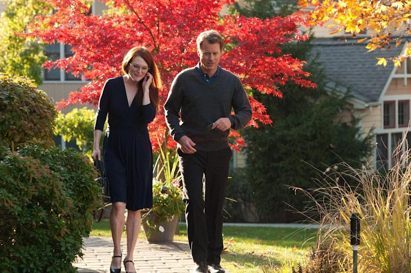 """This undated publicity photo released by courtesy of Cinedigm shows Julianne Moore, left, as Linda Sinclare and Greg Kinnear as Tom Sherwood in the film, """"The English Teacher,"""" directed by Craig Zisk. (AP Photo/Cinedigm, Nicole Rivelli)"""