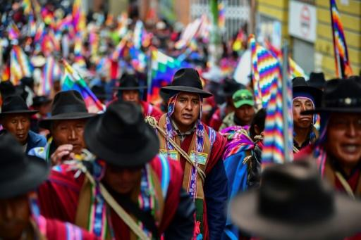 """Supporters of Bolivian ex-president Evo Morales, who has accused the new interim leader of orchestrating a """"coup"""""""