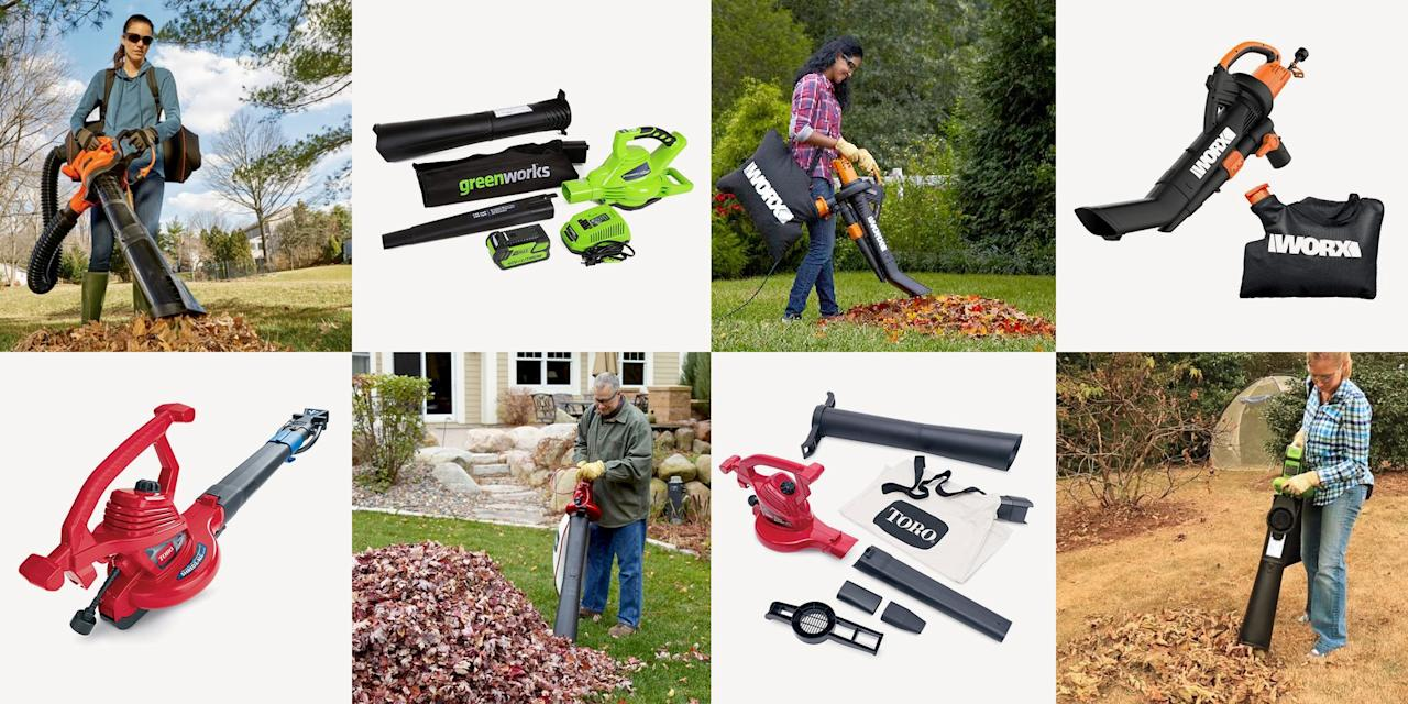 """<p>The right tools can make cleaning up your lawn this fall much more manageable. Instead of just raking or blowing your trees' debris into piles, you can use a leaf vacuum to suck and mulch it up. After all, those leaves can be composted for a <a href=""""https://ecosystems.psu.edu/research/centers/private-forests/news/2016/fallen-leaves-an-argument-for-not-raking"""" target=""""_blank"""">natural fertilizer</a> for your yard, but you don't want to wait until they get soak up rain water and <a href=""""https://www.popularmechanics.com/home/lawn-garden/how-to/a8031/fall-lawn-care-6-steps-to-take-right-now-12437723/"""">suffocate the grass</a> underneath. </p><p><strong>Types of Leaf Vacuums and Features to Consider</strong></p><p>""""Le<strong></strong>af vacuum"""" is a bit of a misnomer, because—while <a href=""""https://www.popularmechanics.com/home/tools/a24539816/best-leaf-blowers/"""" target=""""_blank"""">leaf blowers</a> only blow air—leaf vacuums can usually blow, vacuum, <em>and</em> mulch. Some have separate attachments for blowing and vacuuming, while others (like the Worx below) only require you to flip a switch to reverse the fan. And they run off of a variety of fuel types. Most of these options are corded electric, which may restrict mobility. Gas-powered options provide cord-free powerful operation but are louder and obviously require you to refill the gas tank. Battery-powered models will also be cordless and lightweight but have limited power and shorter run times.</p><p> No matter which kind of leaf vacuum you go with, you'll want to consider specifications like their vacuuming and blowing power, as well as mulch reduction.  Power can be determined by a combination of their air intake, measured by cubic feet per minute (CFM), and their speed of air vacuuming or blowing, measures by miles per hour (MPH). Keep in mind that some of these models have different air speeds and volumes depending on whether they're blowing or vacuuming. The mulch ratio will also indicate how many bags it c"""