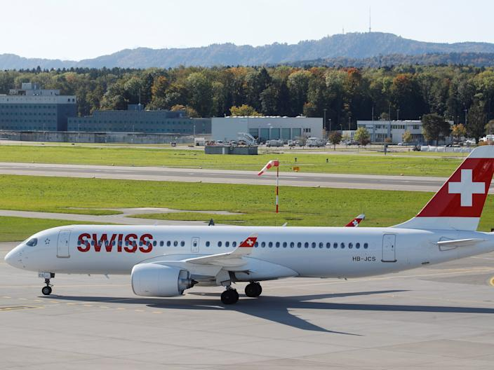 A Swiss International Air Lines Airbus A220 aircraft.