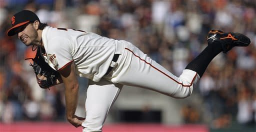 San Francisco Giants' Barry Zito works against the Los Angeles Dodgers in the first inning of a baseball game Sunday, Sept 9, 2012, in San Francisco. (AP Photo/Ben Margot)