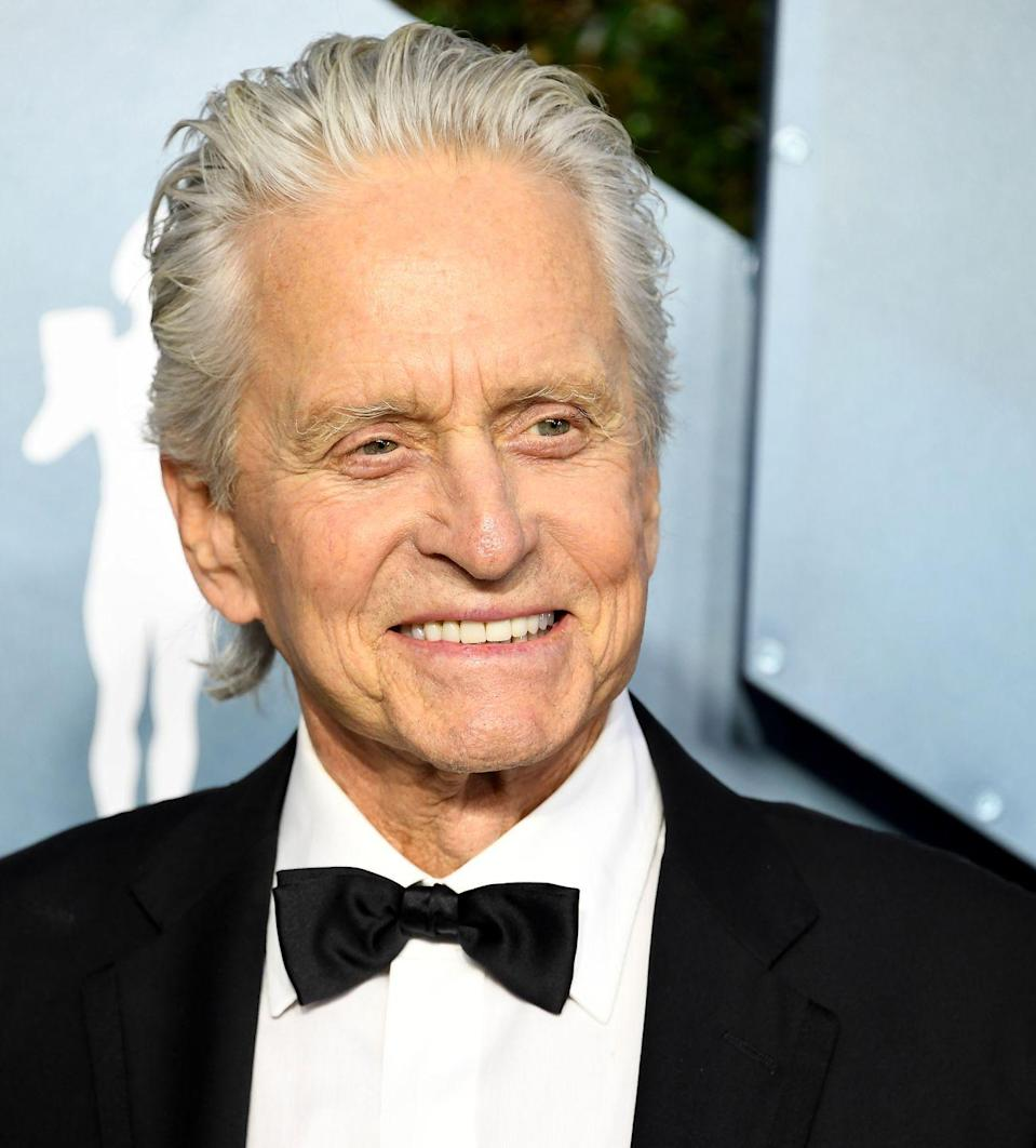 <p>The <em>Wall Street </em>actor is now 76 and hair hair is completely white. We're sure his wife Catherine Zeta-Jones approves.  </p>