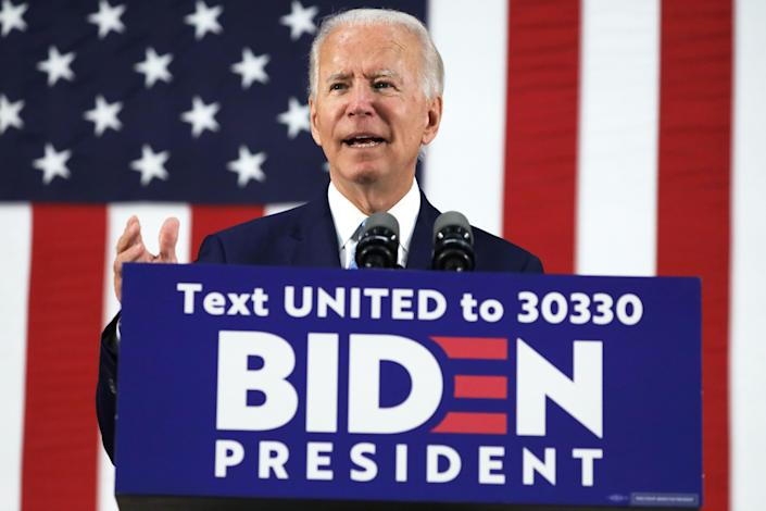 Joe Biden at a campaign event on Tuesday in Wilmington, Del. (Alex Wong/Getty Images)