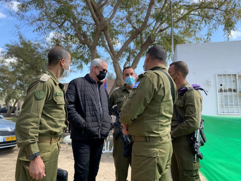 Israeli Defence Minister Benny Gantz speaks to military personnel during a tour of the Gaza border area, in southern Israel