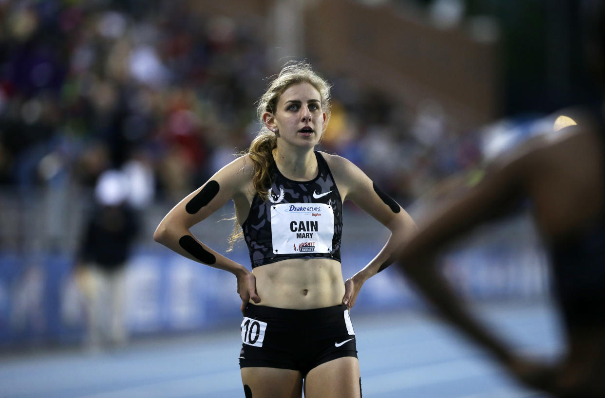 Mary Cain walks off the track after competing in the women's special 1500-meter run.