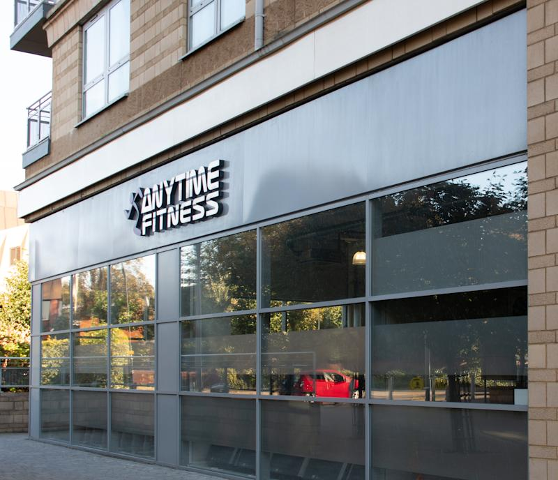 Basingstoke, United Kingdom - September 27 2018: The frontage of Anytime Fitness Gymnasium in Alencon Link