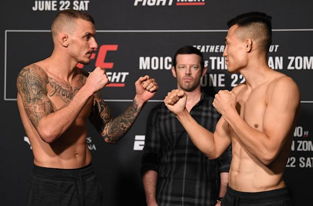 (L-R) Renato Moicano and Chan Sung Jung face off during Friday's weigh-in at the Hyatt Regency Greenville, South Carolina. (Getty Images)