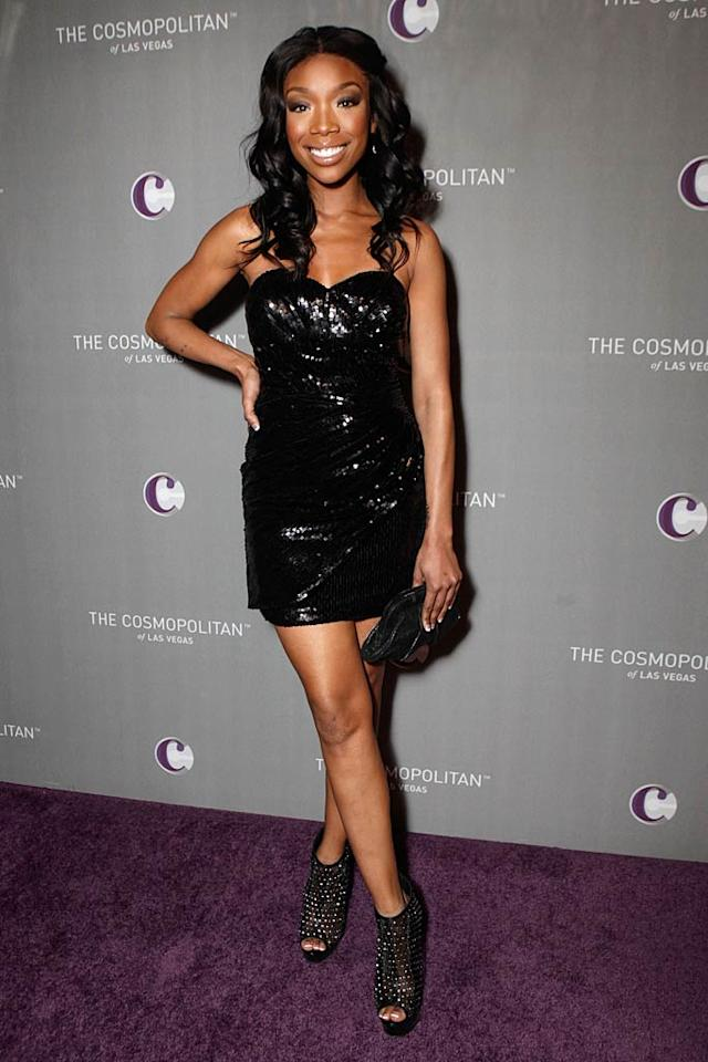 """Also on-hand for the Jay-Z/Coldplay concert ... recently-robbed """"Dancing With the Stars"""" contestant Brandy, who shimmered in a sequined mini, bedazzled peep-toe booties, and a smile. Todd Williamson/<a href=""""http://www.wireimage.com"""" target=""""new"""">WireImage.com</a> - December 31, 2010"""