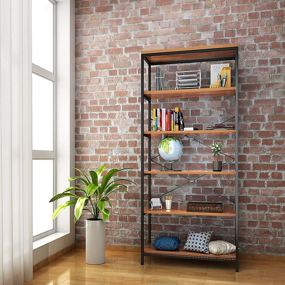 <p>You can't go wrong with this classic and timeless <span>Kemanner 5-Tier Industrial Style Bookcase</span> ($129).</p>
