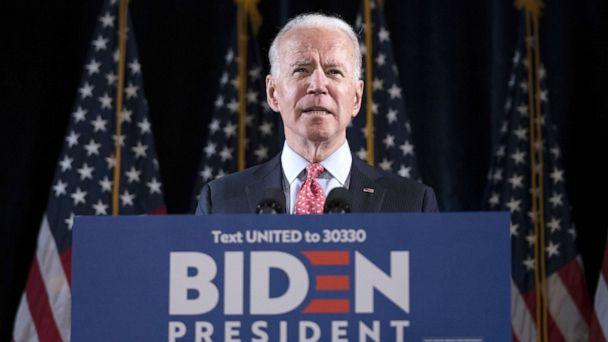 PHOTO: Democratic presidential candidate former Vice President Joe Biden delivers remarks about the coronavirus outbreak, at the Hotel Du Pont, March 12, 2020, in Wilmington, Delaware. (Drew Angerer/Getty Images)