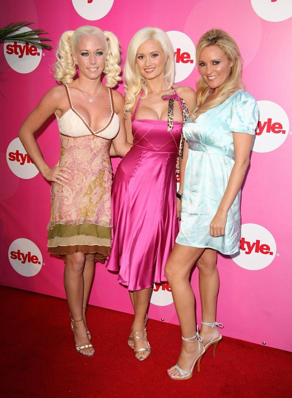 """<p>The stars of E!'s <em>The Girls Next Door</em> (2005-2009), Kendra Wilkinson, Holly Madison, and Bridget Marquardt, go full glam for the red carpet. The show famously captured their lives living at the Playboy Mansion, which <a href=""""https://toofab.com/2021/04/28/holly-madison-girls-next-door-secrets-slams-eps-claims/"""" rel=""""nofollow noopener"""" target=""""_blank"""" data-ylk=""""slk:Madison later revealed"""" class=""""link rapid-noclick-resp"""">Madison later revealed</a> wasn't, uh, all it was made out to be.</p>"""