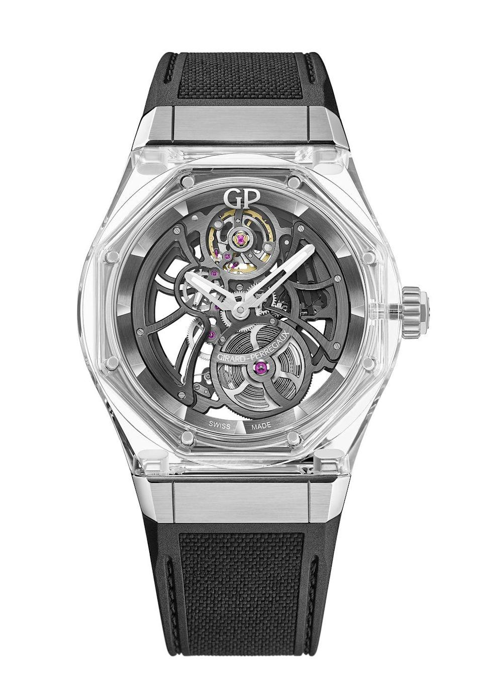 "<p>The latest evolution in the house's signature Laureato collection features a crystalline sapphire and titanium case. The transparent case lets in the light and allows for a 360-degree view of the complicated movement, and the titanium keeps it as light as a feather.<em>($84,700)</em></p><p><a class=""link rapid-noclick-resp"" href=""https://www.girard-perregaux.com/en/laureato"" rel=""nofollow noopener"" target=""_blank"" data-ylk=""slk:Learn More"">Learn More</a></p>"