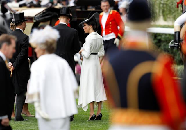 Horse Racing - Royal Ascot - Ascot Racecourse, Ascot, Britain - June 19, 2018 Meghan, the Duchess of Sussex arrives at Ascot racecourse REUTERS/Peter Nicholls